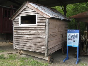 Shepherd's hut at Museum of East Anglian Life, Stowmarket. A hut visible to the public from outside. The interior is currently under restoration. Image date May 2013 © RMN
